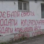 Razbijeni prozori i uvredljivi grafiti na upravnoj zgradi Borca